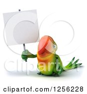 Clipart Of A 3d Green Parrot Holding Up A Blank Sign Royalty Free Illustration