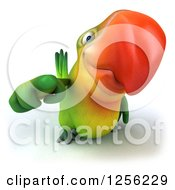 Clipart Of A 3d Green Parrot Pointing Outwards Royalty Free Illustration