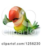 Clipart Of A 3d Green Parrot Holding A Thumb Up Royalty Free Illustration