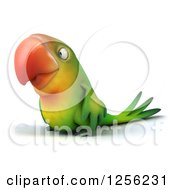 Clipart Of A 3d Green Parrot Facing Left Royalty Free Illustration