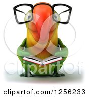 Clipart Of A 3d Bespectacled Green Parrot Reading A Book Royalty Free Illustration