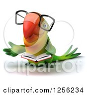 Clipart Of A 3d Bespectacled Green Parrot Gesturing And Reading A Book Royalty Free Illustration