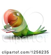 Clipart Of A 3d Green Parrot Reading A Book Royalty Free Illustration