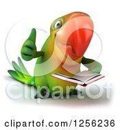 Clipart Of A 3d Green Parrot Holding A Thumb Up And Reading A Book Royalty Free Illustration