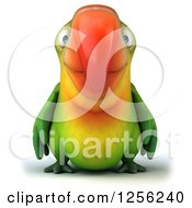 Clipart Of A 3d Green Parrot Royalty Free Illustration