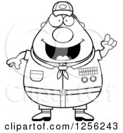 Clipart Of A Black And White Chubby Male Scout Master With An Idea Royalty Free Vector Illustration by Cory Thoman