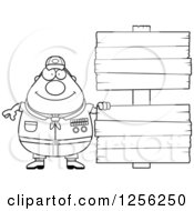 Clipart Of A Black And White Chubby Male Scout Master With Wooden Signs Royalty Free Vector Illustration by Cory Thoman