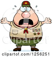 Clipart Of A Scared Screaming Chubby Male Caucasian Scout Master Royalty Free Vector Illustration by Cory Thoman