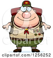 Clipart Of A Chubby Male Caucasian Scout Master Wearing A Backpack Royalty Free Vector Illustration