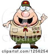 Clipart Of A Chubby Male Caucasian Scout Master With An Idea Royalty Free Vector Illustration by Cory Thoman