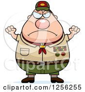 Mad Chubby Male Caucasian Scout Master Waving His Fists