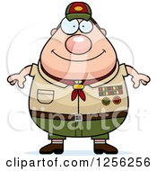 Clipart Of A Happy Chubby Male Caucasian Scout Master Royalty Free Vector Illustration