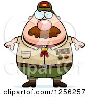 Chubby Male Caucasian Scout Master With A Mustache