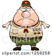 Clipart Of A Sad Depressed Chubby Male Caucasian Scout Master Royalty Free Vector Illustration by Cory Thoman