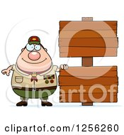 Chubby Male Caucasian Scout Master With Wooden Signs