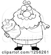 Clipart Of A Black And White Happy Grandpa Holding A Baby Royalty Free Vector Illustration