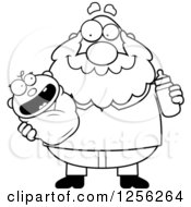 Clipart Of A Black And White Happy Grandpa Holding A Baby And Bottle Royalty Free Vector Illustration