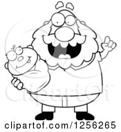 Clipart Of A Black And White Happy Grandpa With An Idea Holding A Baby Royalty Free Vector Illustration