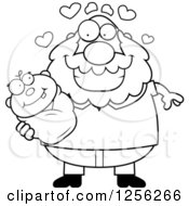Clipart Of A Black And White Loving Grandpa Holding A Baby Royalty Free Vector Illustration