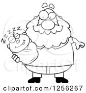 Clipart Of A Black And White Happy Grandpa Holding A Sleeping Baby Royalty Free Vector Illustration