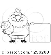 Clipart Of A Black And White Happy Grandpa Holding A Baby By A Blank Sign Royalty Free Vector Illustration