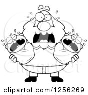 Clipart Of A Black And White Stressed Grandpa Holding Screaming Twin Babies Royalty Free Vector Illustration