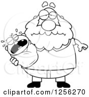 Clipart Of A Black And White Tired Grandpa Holding A Screaming Baby Royalty Free Vector Illustration