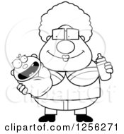 Clipart Of A Black And White Happy Granny Holding A Baby And Bottle Royalty Free Vector Illustration