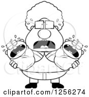 Clipart Of A Black And White Stressed Granny Holding Twin Babies Royalty Free Vector Illustration
