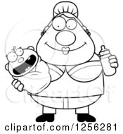 Clipart Of A Black And White Happy Mother Holding A Baby And Bottle Royalty Free Vector Illustration by Cory Thoman