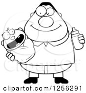 Clipart Of A Black And White Happy Father Holding A Baby And Bottle Royalty Free Vector Illustration