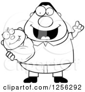 Clipart Of A Black And White Happy Father With An Idea Holding A Baby Royalty Free Vector Illustration