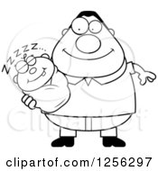 Clipart Of A Black And White Happy Father Holding A Sleeping Baby Royalty Free Vector Illustration by Cory Thoman