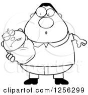 Clipart Of A Black And White Surprised Father Holding An Evil Baby Royalty Free Vector Illustration by Cory Thoman