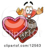 Sink Plunger Mascot Cartoon Character With An Open Box Of Valentines Day Chocolate Candies