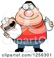 Clipart Of A Happy Caucasian Father Holding A Baby And Bottle Royalty Free Vector Illustration