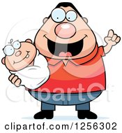 Clipart Of A Happy Caucasian Father With An Idea Holding A Baby Royalty Free Vector Illustration by Cory Thoman