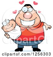 Clipart Of A Loving Caucasian Father Holding A Baby Royalty Free Vector Illustration by Cory Thoman