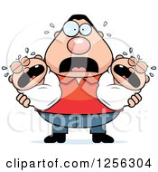 Clipart Of A Stressed Caucasian Father Holding Twin Babies Royalty Free Vector Illustration