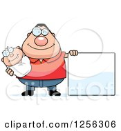 Clipart Of A Happy Caucasian Father Holding A Baby By A Blank Sign Royalty Free Vector Illustration by Cory Thoman