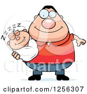 Clipart Of A Happy Caucasian Father Holding A Sleeping Baby Royalty Free Vector Illustration by Cory Thoman