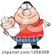 Clipart Of A Happy Caucasian Father Holding A Baby Royalty Free Vector Illustration by Cory Thoman