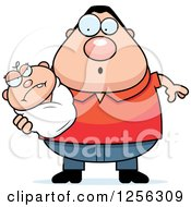 Clipart Of A Surprised Caucasian Father Holding An Evil Baby Royalty Free Vector Illustration by Cory Thoman