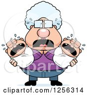 Clipart Of A Stressed Granny Holding Twin Babies Royalty Free Vector Illustration