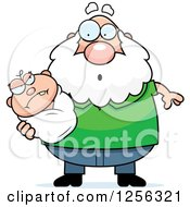 Clipart Of A Surprised Caucasian Grandpa Holding An Evil Baby Royalty Free Vector Illustration