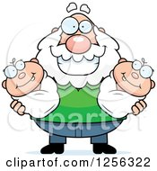 Clipart Of A Happy Caucasian Grandpa Holding Twin Babies Royalty Free Vector Illustration