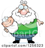 Clipart Of A Happy Caucasian Grandpa Holding A Baby Royalty Free Vector Illustration by Cory Thoman
