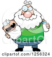 Clipart Of A Happy Caucasian Grandpa Holding A Baby And Bottle Royalty Free Vector Illustration