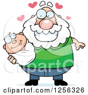Clipart Of A Loving Caucasian Grandpa Holding A Baby Royalty Free Vector Illustration