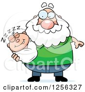 Clipart Of A Happy Caucasian Grandpa Holding A Sleeping Baby Royalty Free Vector Illustration